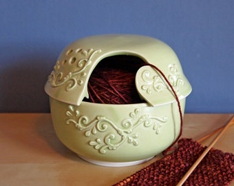 yarn bowl with scrolls in Spring Pea
