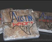 Austin-Heart of Texas Coasters - (4)Handpainted Tiles