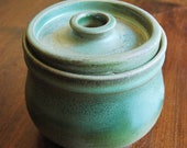 Small Turquoise and Green Stoneware Canister with Cream colored interior (Sourdough Style)