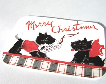 Scottie Dog Tags -  Set of 4 - Christmas Scotties - Vintage Scotties - Christmas Dogs - Thank Yous - Holiday Tags -  Merry Christmas