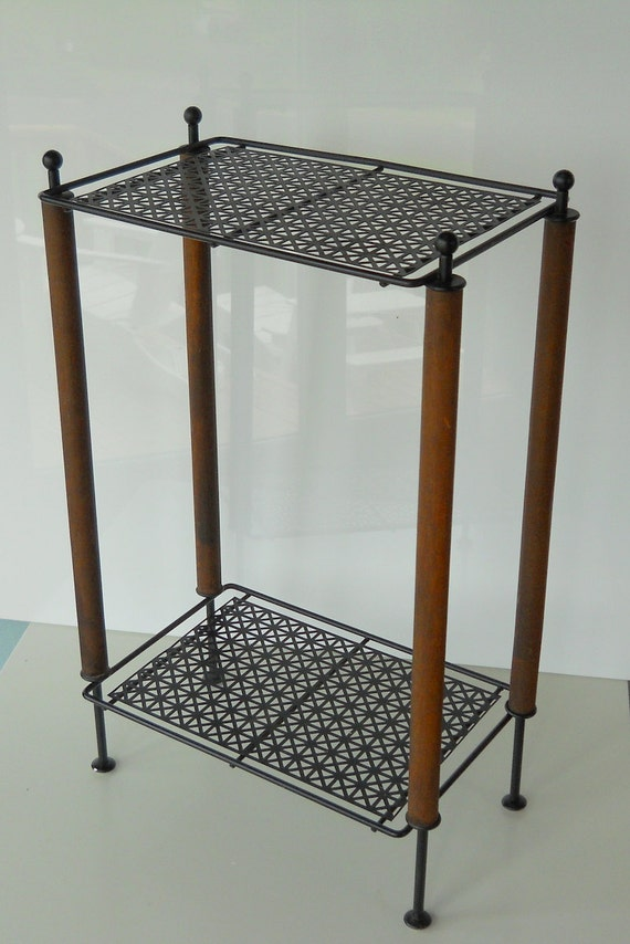 vintage mid century metal and wood plant stand by bluehousevintage. Black Bedroom Furniture Sets. Home Design Ideas