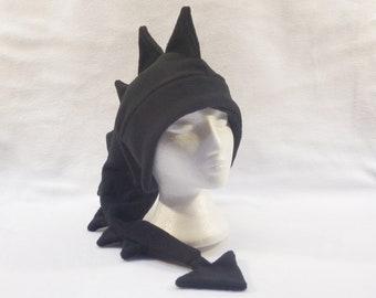Black Dragon Hat Mens Womens Teen Dinosaur Ear Flap Hat by Ningen Headwear