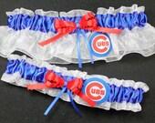Personalized Chicago Cubs Baseball Wedding Garter Set