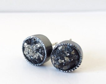 Pyrite Slate Mineral Earrings Sterling Silver Post