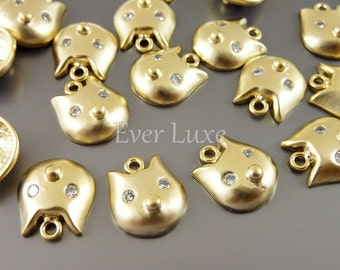 2 cat earring findings, kitten necklace charms with cubic zironia eyes  1673-MG