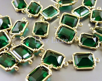 2 Geometric rectangle emerald glass connectors, links for bracelet charms, necklace pendant, earring beads 5035G-EM (emerald, gold, 2 pcs)