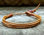 Orange Tangerine Leather Unisex Bracelet
