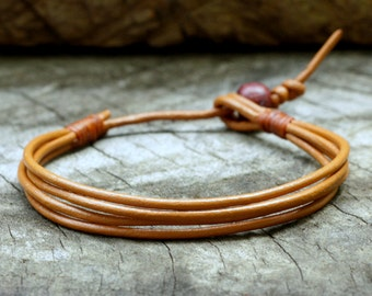 Orange Tangerine Leather Unisex Bracelet