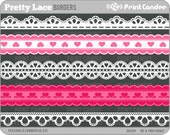 Pretty Lace Ribbons - Personal and Commercial Use - digital clipart border ribbon clip art