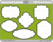 Assorted Labels (18 Pack) - Personal and Commercial Use - digital clipart frames clip art