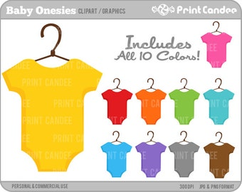 Baby Onesies (Primary Colors) -  Digital Clip Art - Personal and Commercial Use - baby shower, clothes, one piece