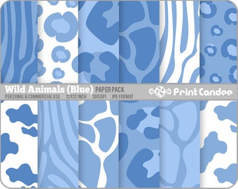 Wild Animals (Blue) Paper Pack (12 Sheets) - Personal and Commercial Use - jungle animal skin zebra leopard cow