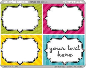 Rectangle - Editable PDF (8x10) Colorful Stripes Labels (No. 215) -  Printable Cards for  gift wrapping, stationary