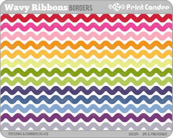 Wavy Ribbons -  Personal and Commercial Use - digital clipart frames clip art cute modern