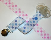 Pink or Blue Snowflakes Soothie / Pacifier Clip