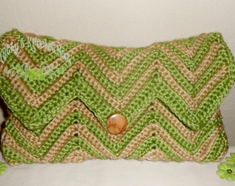 Green Tea Chevron Crochet Clutch - green, lime green, khaki, tan, crochet, chevron, clutch, purse, handbag, evening bag, tote, bag, tote bag