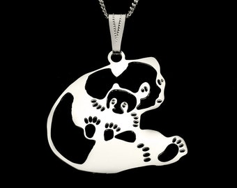 MOTHER PANDA with BABY, cut out silhouette of panda, with bail and neck chain, all silver plated.