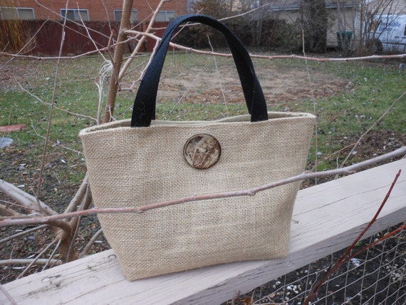 Natural Burlap  Tote Lunch Bag with Organic Button- Free Shipping
