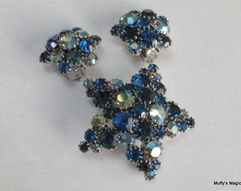 Rhinestone Star Brooch Earrings in Sapphire Blue and Aurora Borealis
