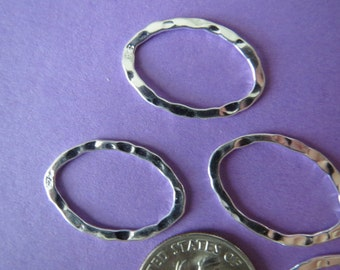4 pcs 20x14 mm sterling silver hammered flat oval connector earring hoop ring