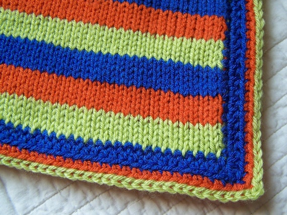 Happy colors knit baby blanket