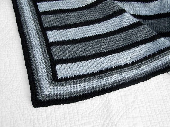 Baby blanket knit in 2 shades of grey and black/ knit baby blanket/ crochet baby blanket