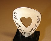 Guitar Pick, Bronze Pick for Dad, Personalized Guitar Pick, Custom Pick, Heart Cutout, Engraved Pick, Custom Dad Gift.