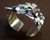 Sterling silver butterfly garden handmade cuff bracelet