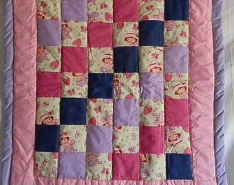 Strawberry shortcake Quilt with matching travel pillowcase