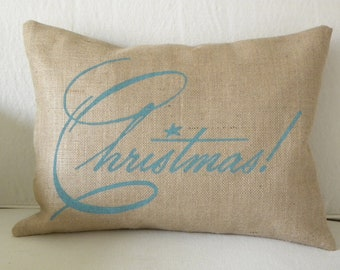 Aqua Christmas burlap (hessian) pillow cover