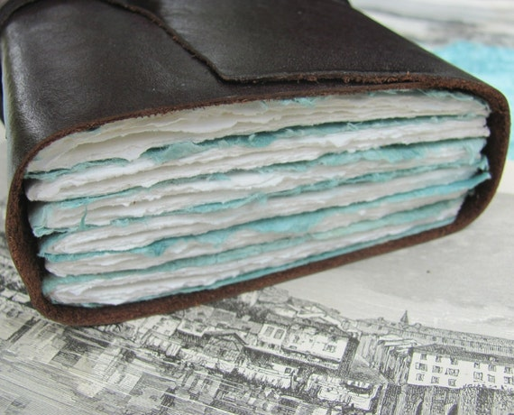 The Sea - Fat Little Leather Journal with a mix of Watercolor and Handmade Paper