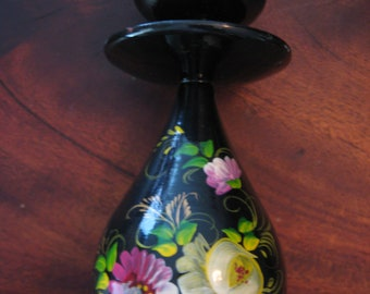 Vintage Tole Candle Holder Floral Gilt Hand Painted Black Laquer Wood 1930 Era Turned Wood Tole Ware Pillar Candle Folk Art