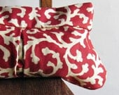 Coral Print Cotton Clutch - Rust Red - Nautical