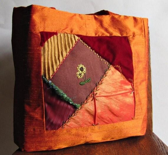 Art Quilt Bag - Crazy Quilt Tote - Silk Tote Bag