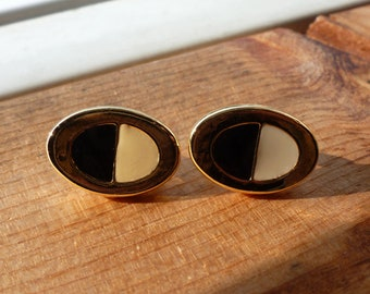 Vintage Black and White with Gold Detailing Oval Clip On Earrings, Clip Ons