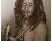 JEREMY WORST Bob Marley Sketch Original Artwork Signed  Print
