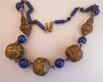 SALE Stunning Art Nouveau Czech Cobalt Blue Glass Repousse Antique Necklace