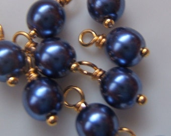 10 - Hand wrapped 6mm Royal Blue Glass Pearl Dangles-Charms