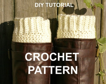 DIY Crochet Pattern PDF Ribbed Boot Cuffs Boot Socks