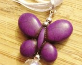 Butterfly Howlite Stone Pendant Necklace, Purple color
