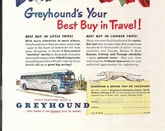 GREYHOUND BUS Advertisement, Vintage March 1952 National Geographic Magazine Original Color Illustration