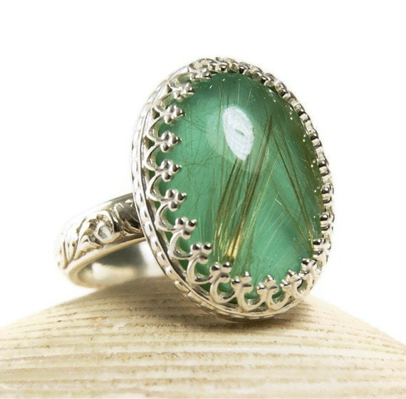 Sterling Silver Stone Ring, Gold Rutilated Quartz, Natural Chrysocolla, Handmade Jewelry-made to order in your size