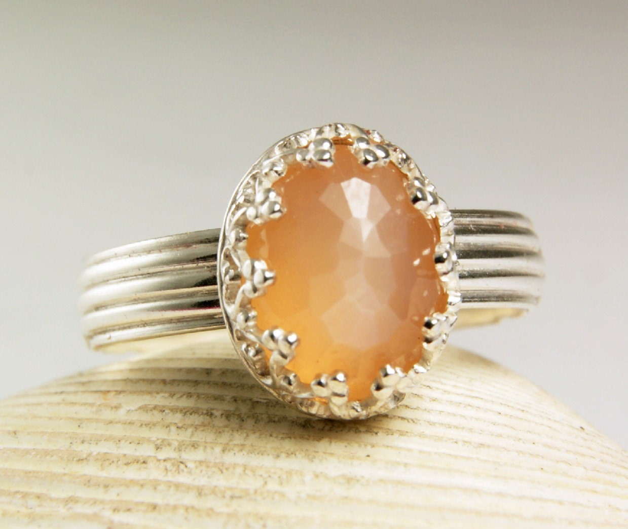 Sterling Silver Peach Moonstone Ring by TazziesCustomJewelry