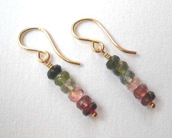 Watermelon Tourmaline Earrings - Gold Filled Dangle Bar Earrings Pink and Green Tourmaline Beadwork Earrings