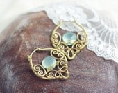 Wire wrapped boho earrings - brass filigree hammered earrings with aqua blue mint chalcedony   - FREE SHIPPING