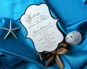 Beach Themed or Destination Wedding Fan Favor Programs with Curved Handle
