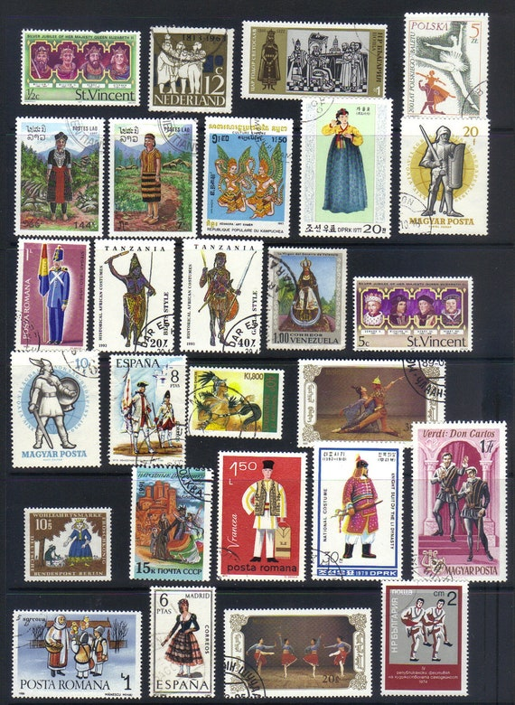 Costume and Dress - Vintage postage stamps (3)