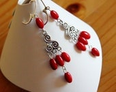 Red coral, chandelier earrings