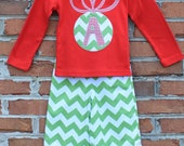 Christmas Ornament Initial Applique Shirt...Ready for Delivery...Available in Size 18m, 2, 4, 6 and 8