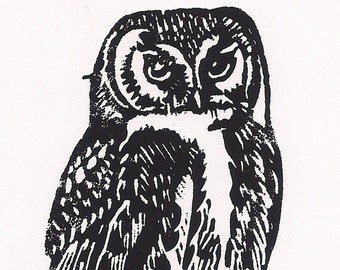 Night Owl Linocut Print- Goth Darkside Art- 4x6 inches- Signed Edition of 50